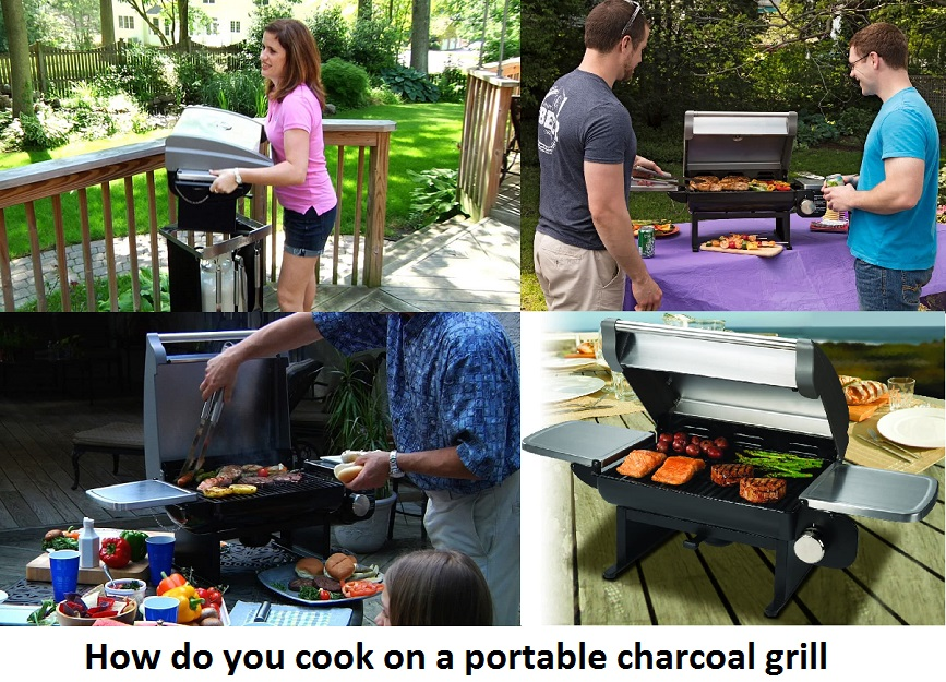 How do you cook on a portable charcoal grill